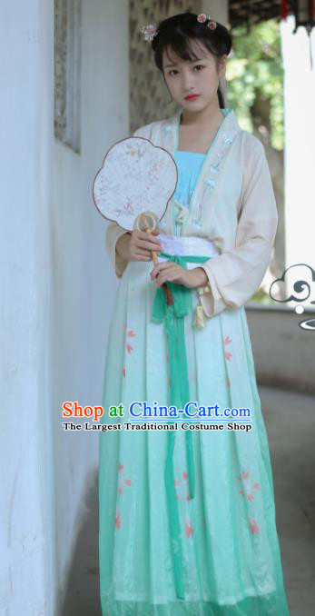 Traditional Chinese Tang Dynasty Historical Costume Ancient Princess Embroidered Hanfu Dress for Women