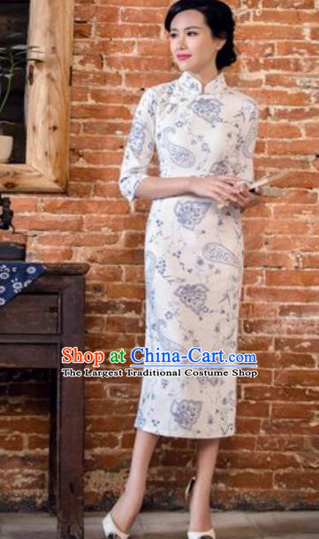 Chinese Traditional Tang Suit Costume National Cheongsam White Qipao Dress for Women