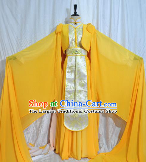 Traditional Chinese Han Dynasty Queen Yellow Hanfu Dress Ancient Empress Embroidered Costume for Women