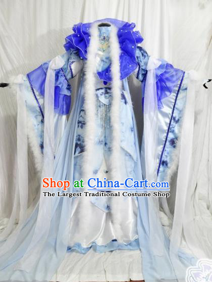 Traditional Chinese Han Dynasty Princess Blue Hanfu Dress Ancient Empress Embroidered Costume for Women