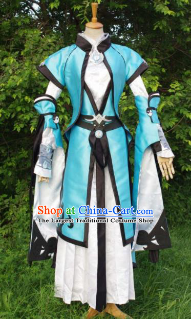 Traditional Chinese Cosplay Royal Highness Blue Hanfu Clothing Ancient Swordsman Embroidered Costume for Men