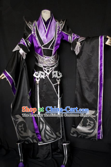 Traditional Chinese Cosplay Swordswoman Black Hanfu Dress Ancient Queen Embroidered Costume for Women