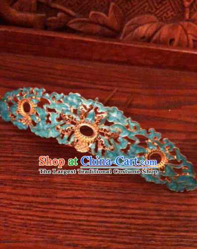 Traditional Chinese Ming Dynasty Queen Hairpins Cloisonne Hair Crown Handmade Ancient Palace Hair Accessories for Women