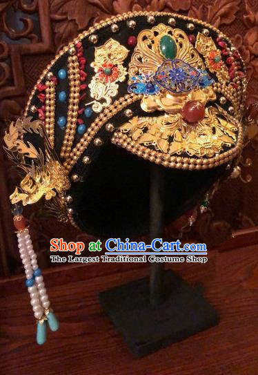 Traditional Chinese Qing Dynasty Palace Lady Phoenix Hat Headwear Ancient Manchu Hair Accessories for Women