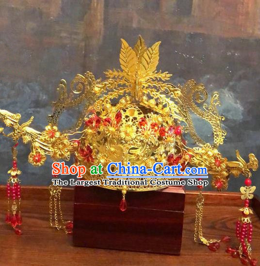Traditional Chinese Ming Dynasty Queen Hairpins Phoenix Coronet Handmade Ancient Palace Hair Accessories for Women