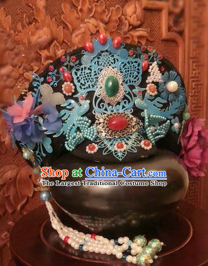 Traditional Chinese Qing Dynasty Palace Lady Cloisonne Hat Headwear Ancient Manchu Hair Accessories for Women
