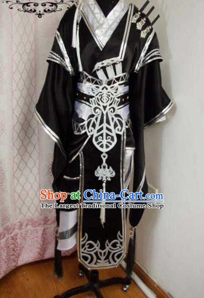 Traditional Chinese Cosplay Knight Prince Black Clothing Ancient Swordsman Embroidered Costume for Men