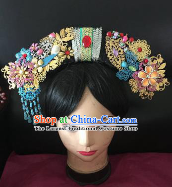 Traditional Chinese Qing Dynasty Princess Blue Tassel Headwear Ancient Manchu Lady Hair Accessories for Women