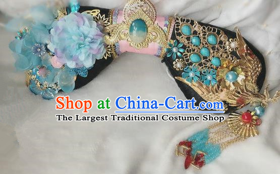 Traditional Chinese Qing Dynasty Imperial Consort Blue Peony Headwear Ancient Palace Manchu Hair Accessories for Women