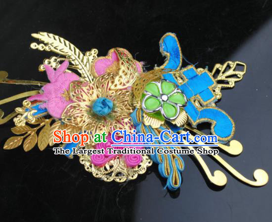 Traditional Chinese Qing Dynasty Princess Hair Claw Hairpins Handmade Ancient Manchu Lady Hair Accessories for Women