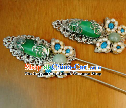 Traditional Chinese Qing Dynasty Princess Jade Hairpins Handmade Ancient Manchu Lady Hair Accessories for Women