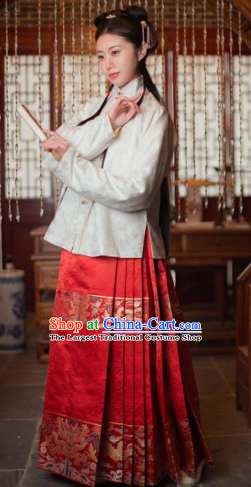 Chinese Ancient Ming Dynasty Nobility Lady Hanfu Dress Traditional Court Princess Embroidered Historical Costume for Women