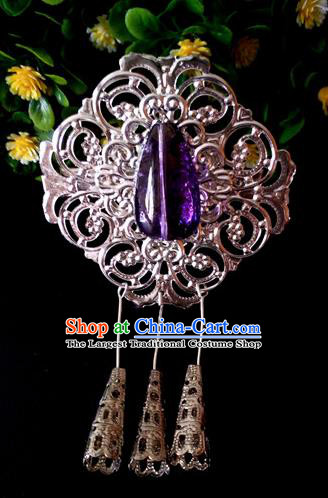 Chinese Handmade Hanfu Palace Hairpins Purple Crystal Hair Claw Traditional Ancient Princess Hair Accessories for Women