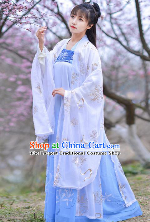 Chinese Ancient Peri Goddess Embroidered Hanfu Dress Traditional Tang Dynasty Historical Costume for Women