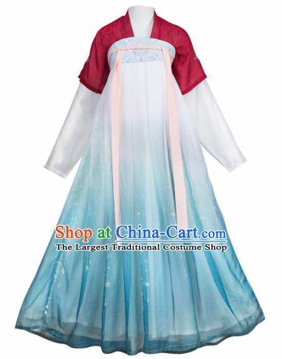 Chinese Ancient Maidservants Embroidered Hanfu Dress Traditional Tang Dynasty Court Maid Historical Costume for Women