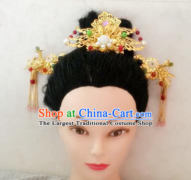 Handmade Chinese Palace Golden Hair Comb Princess Hairpins Ancient Traditional Hanfu Hair Accessories for Women