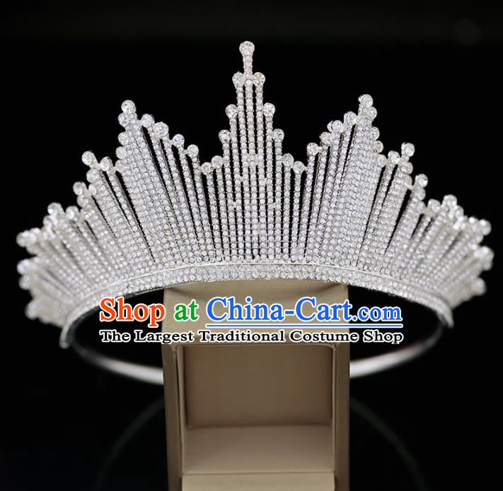 Top Grade Handmade Crystal Royal Crown Baroque Princess Wedding Hair Accessories for Women