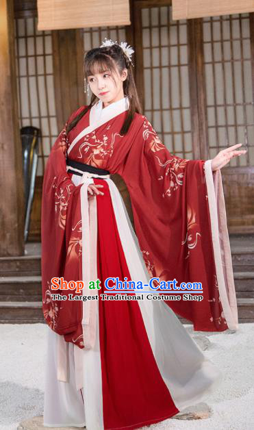 Chinese Jin Dynasty Palace Lady Red Hanfu Dress Traditional Ancient Court Princess Historical Costume for Women