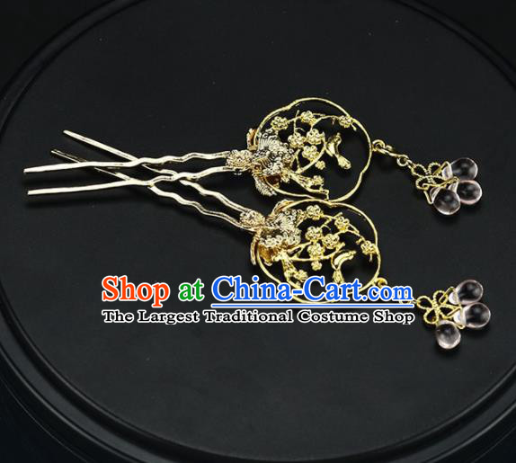 Chinese Handmade Hanfu Golden Hairpins Ancient Palace Princess Hair Accessories Headwear for Women