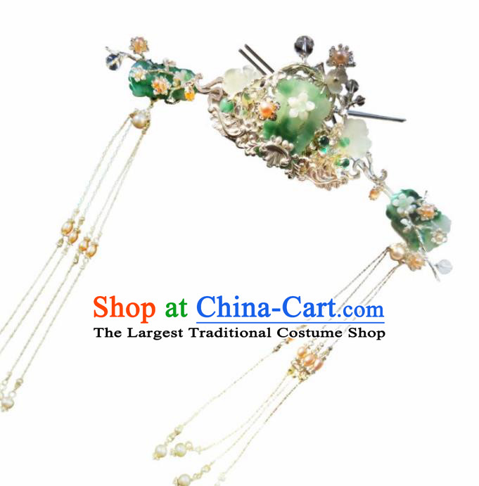 Chinese Handmade Hanfu Hairpins Jade Hair Crown Ancient Palace Princess Hair Accessories Headwear for Women