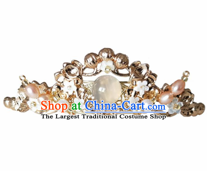Chinese Handmade Hanfu Hairpins White Chalcedony Hair Crown Ancient Palace Princess Hair Accessories Headwear for Women