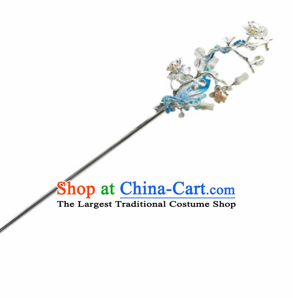 Chinese Handmade Hanfu Blue Crystal Hairpins Ancient Palace Princess Hair Accessories Headwear for Women