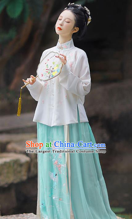 Traditional Chinese Ming Dynasty Nobility Lady Historical Costume Ancient Court Embroidered Hanfu Dress for Women
