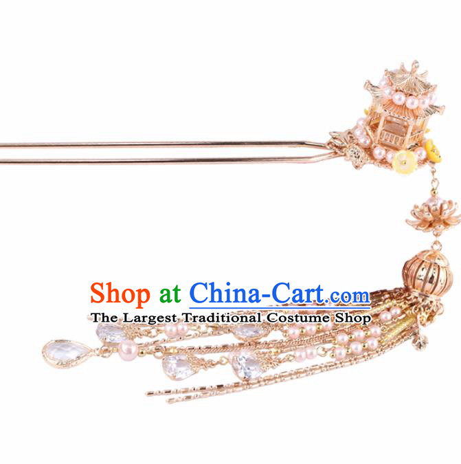 Chinese Handmade Palace Tassel Hairpins Ancient Princess Hanfu Hair Accessories Headwear for Women