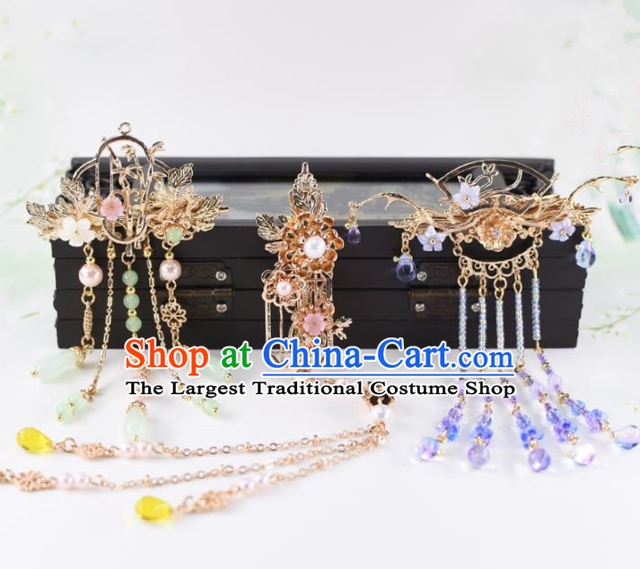 Chinese Handmade Palace Tassel Hair Stick Hairpins Ancient Princess Hanfu Hair Accessories Headwear for Women