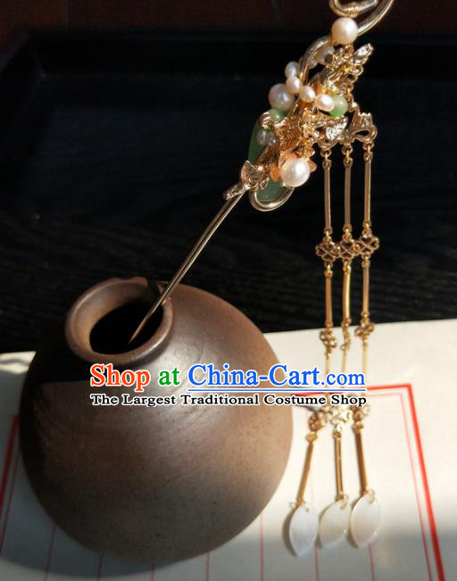 Chinese Handmade Hanfu Hair Clip Jade Hairpins Ancient Palace Princess Hair Accessories Headwear for Women