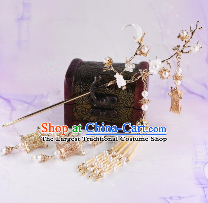 Chinese Handmade Palace Moon Rabbit Hairpins Ancient Princess Hanfu Hair Accessories Headwear for Women