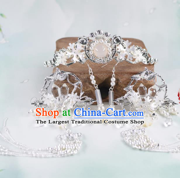 Chinese Handmade Palace Hair Crown Rose Chalcedony Hairpins Ancient Princess Hanfu Hair Accessories Headwear for Women