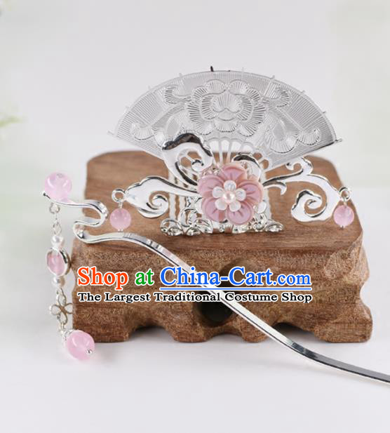 Chinese Handmade Palace Fan Hairpins Ancient Princess Hanfu Hair Accessories Headwear for Women