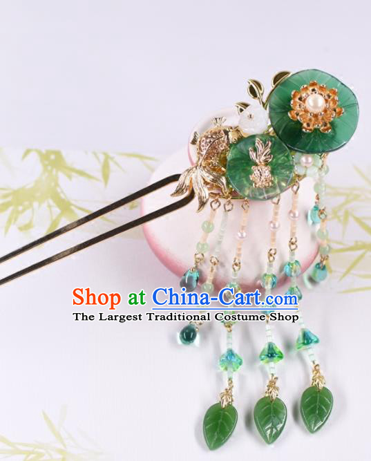 Chinese Handmade Palace Lotus Leaf Tassel Hairpins Ancient Princess Hanfu Hair Accessories Headwear for Women
