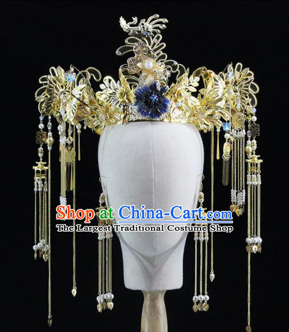 Chinese Handmade Palace Golden Phoenix Coronet Hairpins Ancient Princess Hanfu Hair Accessories Headwear for Women