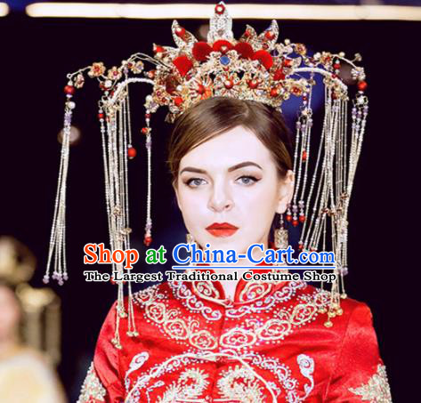 Chinese Handmade Palace Red Venonat Phoenix Coronet Hairpins Ancient Princess Hanfu Hair Accessories Headwear for Women