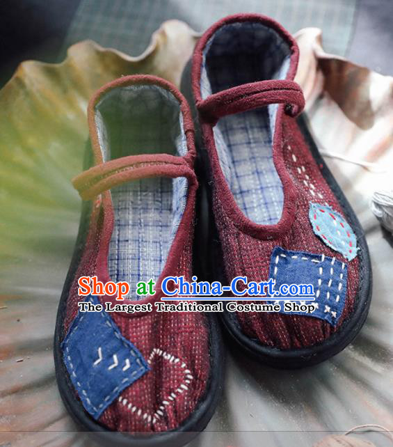 Chinese Cloth Shoes Traditional Red Linen Shoes National Hanfu Shoes for Women
