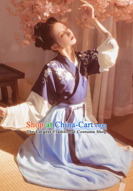 Chinese Traditional Tang Dynasty Court Lady Historical Costume Ancient Peri Embroidered Hanfu Dress for Women