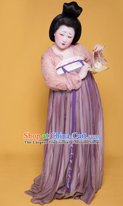 Chinese Traditional Tang Dynasty Large Size Historical Costume Ancient Court Lady Hanfu Dress for Women