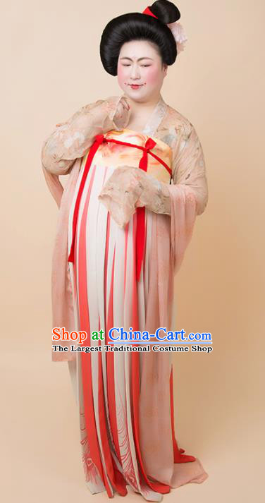 Chinese Traditional Tang Dynasty Court Large Size Historical Costume Ancient Imperial Consort Hanfu Dress for Women