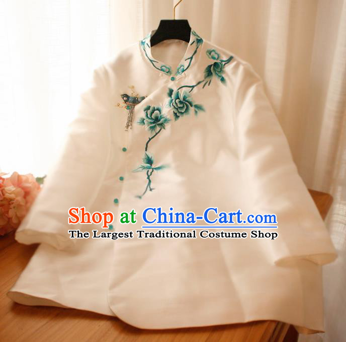 Chinese National Classical Embroidered Peony White Blouse Traditional Tang Suit Upper Outer Garment for Women