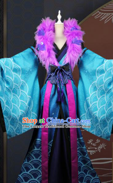Chinese Traditional Cosplay Peri Queen Costume Ancient Swordswoman Blue Hanfu Dress for Women