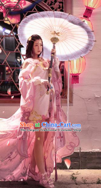 Chinese Traditional Cosplay Peri Costume Ancient Swordswoman Pink Hanfu Dress for Women