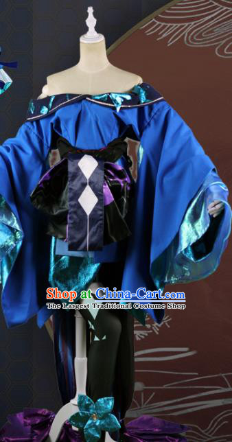 Chinese Traditional Cosplay Game Peri Costume Ancient Fairy Swordswoman Blue Hanfu Dress for Women