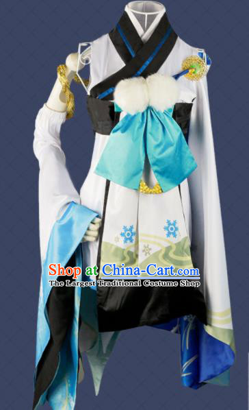 Chinese Traditional Cosplay Game Snow Peri Yokime Costume Ancient Swordswoman White Hanfu Dress for Women