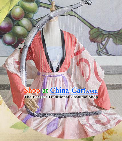 Chinese Traditional Cosplay Tang Dynasty Costume Ancient Peri Princess Hanfu Dress for Women
