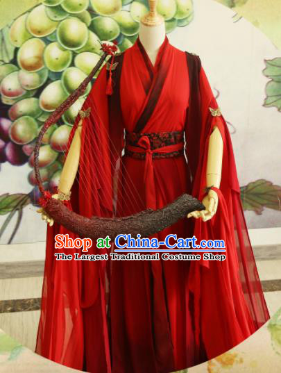 Chinese Traditional Cosplay Princess Wedding Costume Ancient Jin Dynasty Swordswoman Red Hanfu Dress for Women