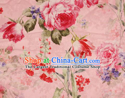 Chinese Traditional Satin Fabric Material Classical Peony Pattern Design Pink Brocade Cheongsam Silk Fabric