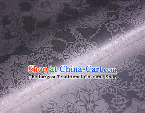 Chinese Traditional Tulip Pattern White Brocade Cheongsam Classical Fabric Satin Material Silk Fabric