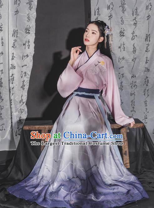 Chinese Ancient Jin Dynasty Young Lady Embroidered Hanfu Dress Traditional Swordswoman Historical Costume for Women